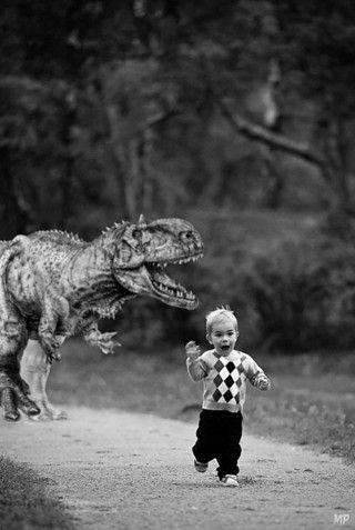 Boy Chased By Dinosaur